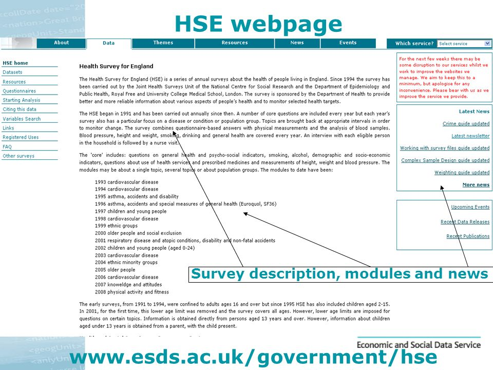 HSE webpage www.esds.ac.uk/government/hse Survey description, modules and news