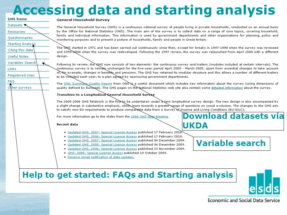 Download datasets via UKDA Help to get started: FAQs and Starting analysis Accessing data and starting analysis Variable search
