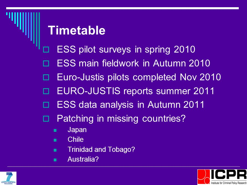 Timetable ESS pilot surveys in spring 2010 ESS main fieldwork in Autumn 2010 Euro-Justis pilots completed Nov 2010 EURO-JUSTIS reports summer 2011 ESS