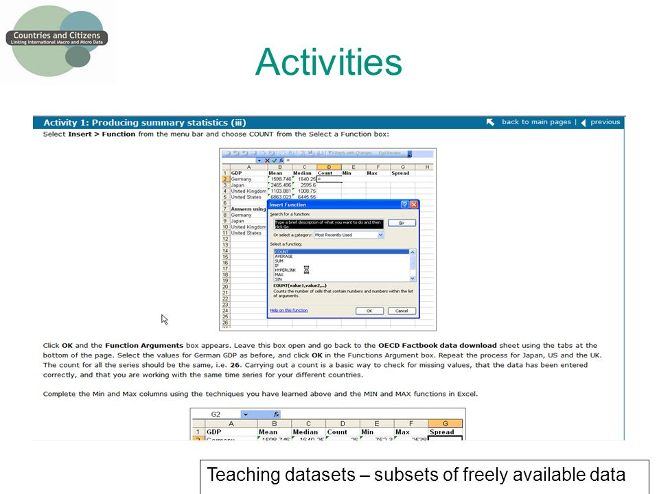 Activities Teaching datasets – subsets of freely available data