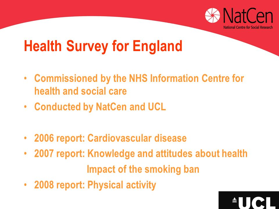 Health Survey for England Commissioned by the NHS Information Centre for health and social care Conducted by NatCen and UCL 2006 report: Cardiovascula