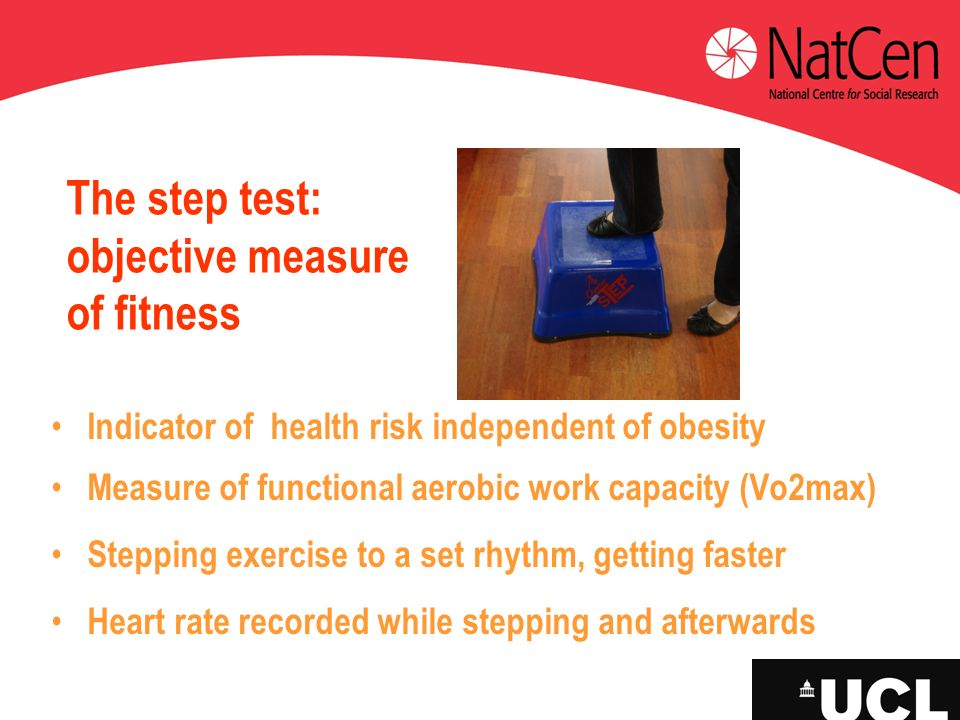 The step test: objective measure of fitness Indicator of health risk independent of obesity Measure of functional aerobic work capacity (Vo2max) Stepp