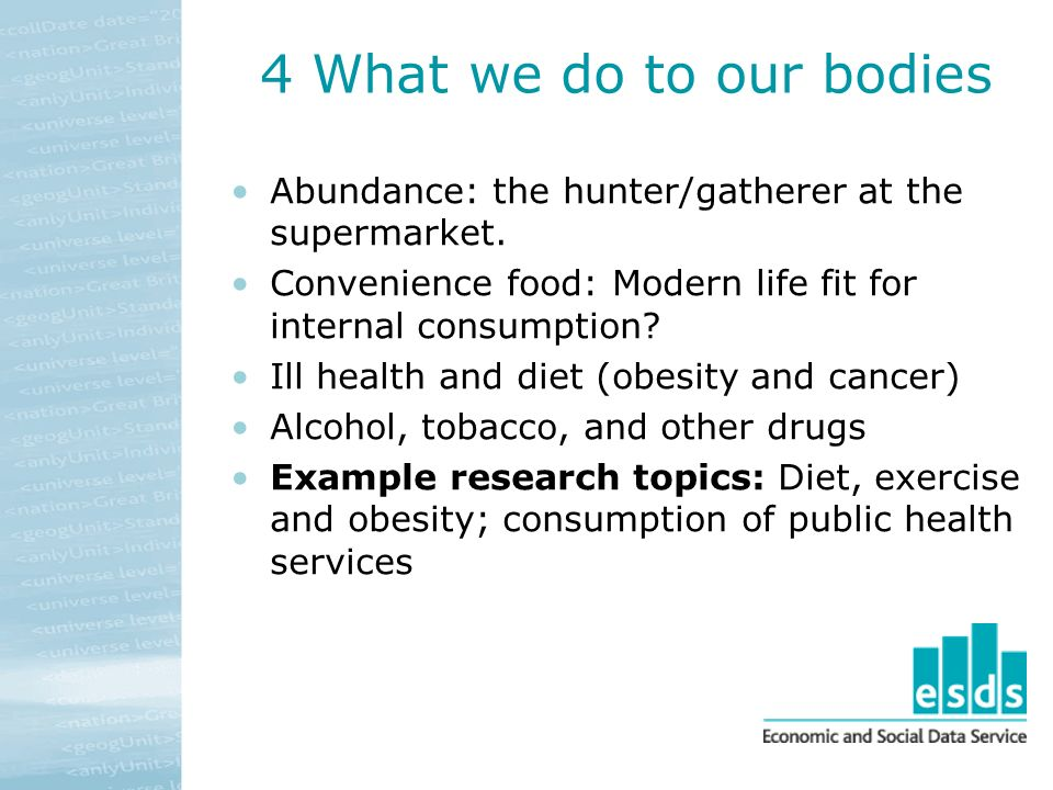 4 What we do to our bodies Abundance: the hunter/gatherer at the supermarket.