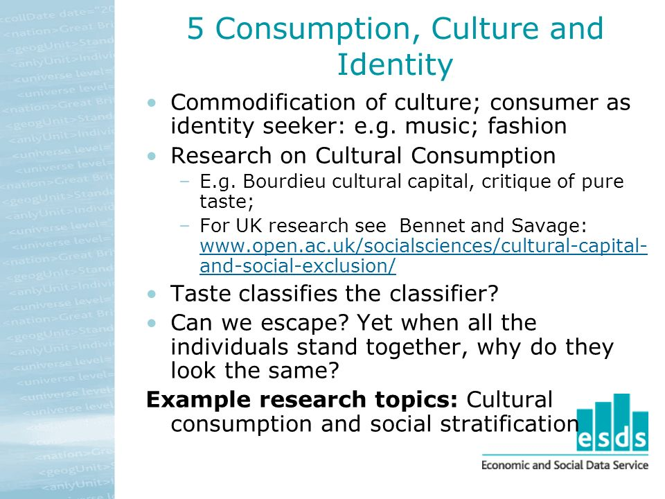 5 Consumption, Culture and Identity Commodification of culture; consumer as identity seeker: e.g.