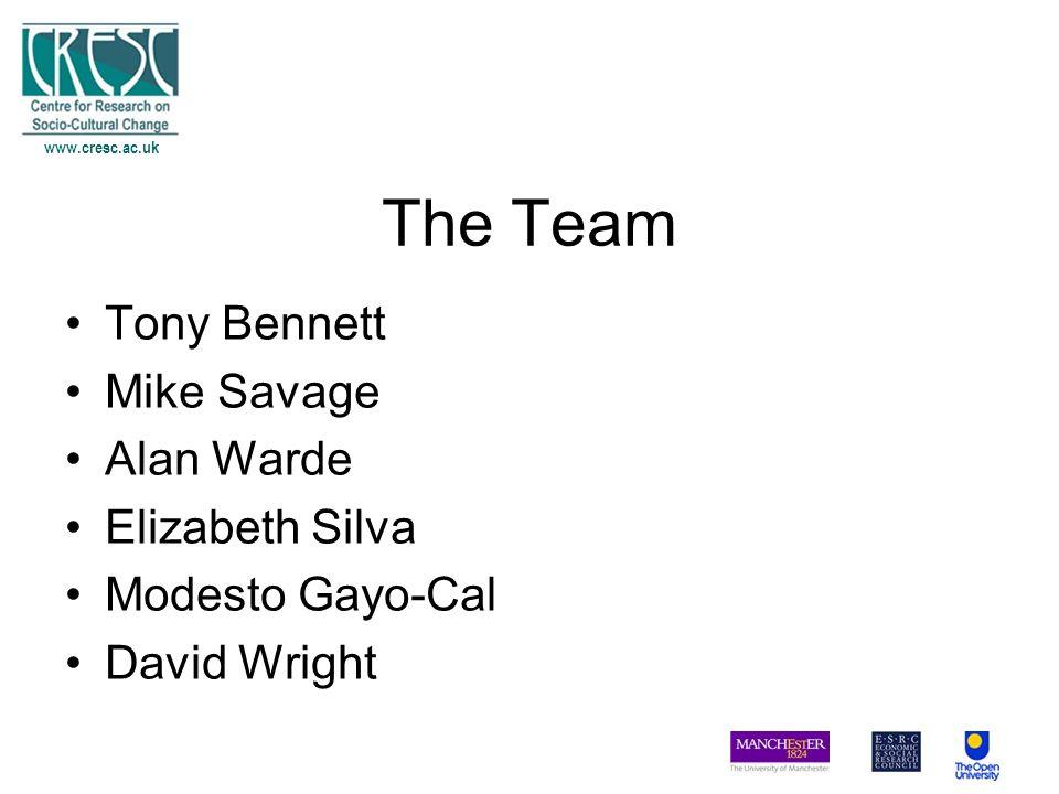 The Team Tony Bennett Mike Savage Alan Warde Elizabeth Silva Modesto Gayo-Cal David Wright www.cresc.ac.uk