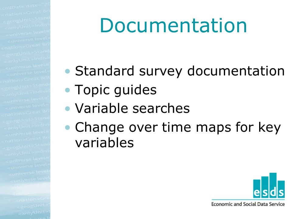 Documentation Standard survey documentation Topic guides Variable searches Change over time maps for key variables