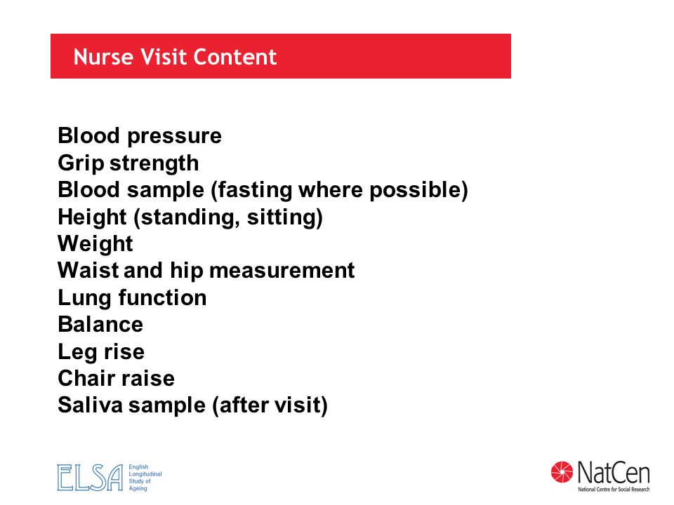 Nurse Visit Content Blood pressure Grip strength Blood sample (fasting where possible) Height (standing, sitting) Weight Waist and hip measurement Lun
