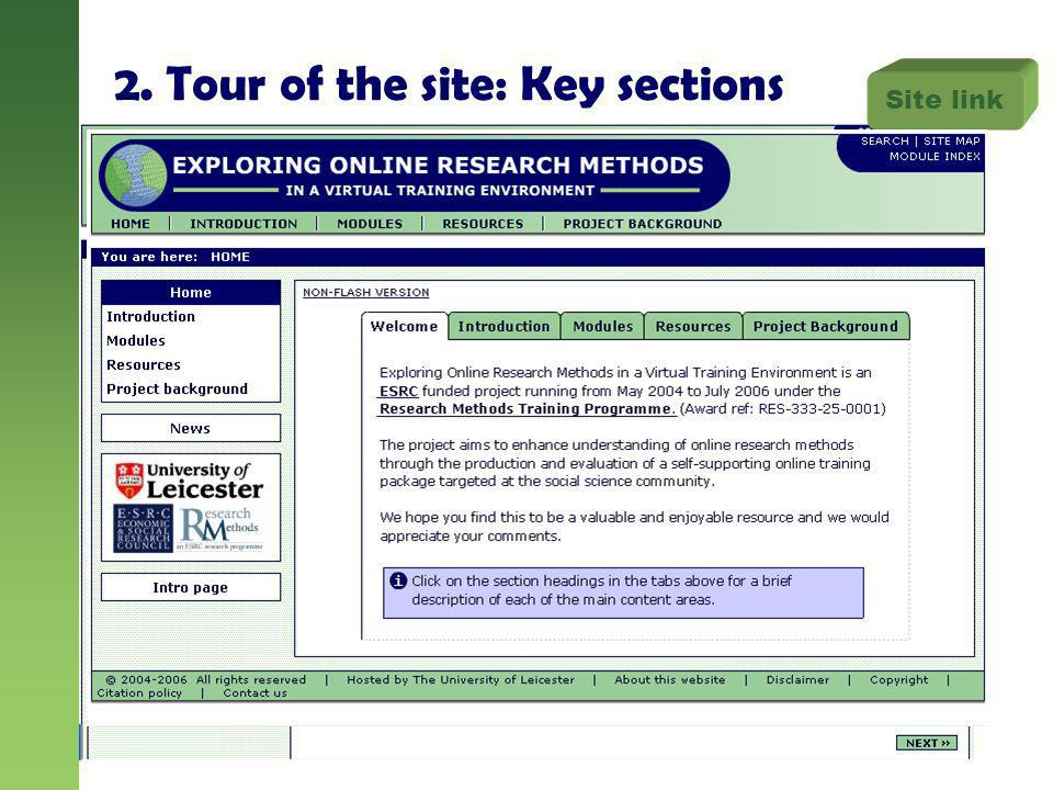2. Tour of the site: Key sections Site link