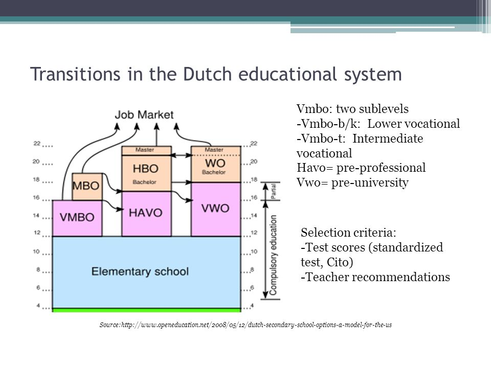 Transitions in the Dutch educational system Source:http://www.openeducation.net/2008/05/12/dutch-secondary-school-options-a-model-for-the-us Vmbo: two sublevels -Vmbo-b/k: Lower vocational -Vmbo-t: Intermediate vocational Havo= pre-professional Vwo= pre-university Selection criteria: -Test scores (standardized test, Cito) -Teacher recommendations