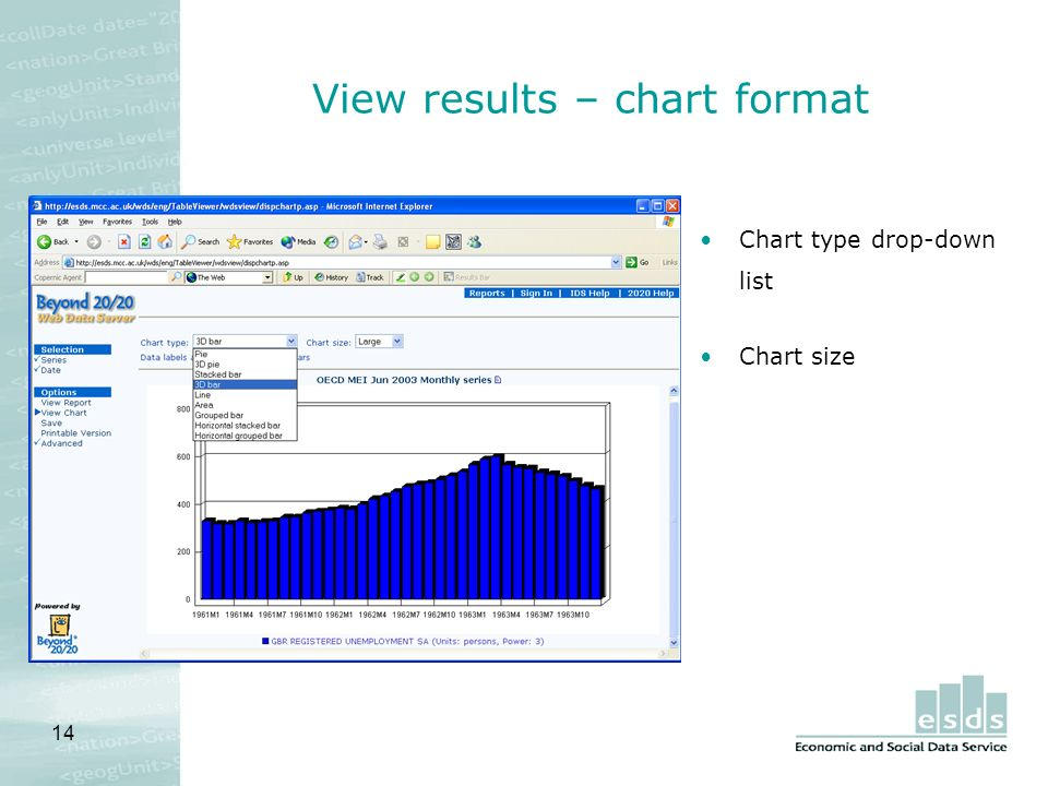 14 View results – chart format Chart type drop-down list Chart size