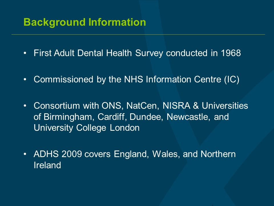 Purpose of the Survey ADHS 2009 aims to: provide accurate, up-to-date information inform the development of policy decisions monitor performance of dental health targets