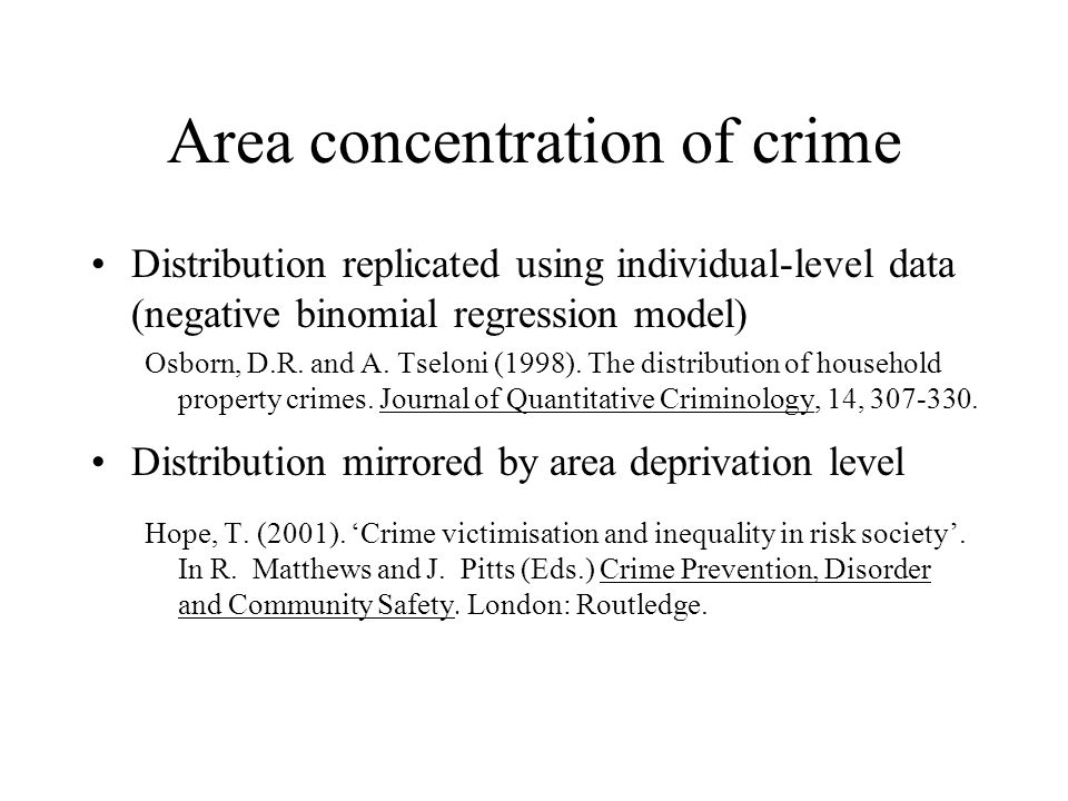 Area concentration of crime Distribution replicated using individual-level data (negative binomial regression model) Osborn, D.R.