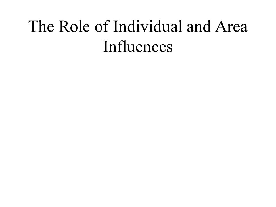 The Role of Individual and Area Influences