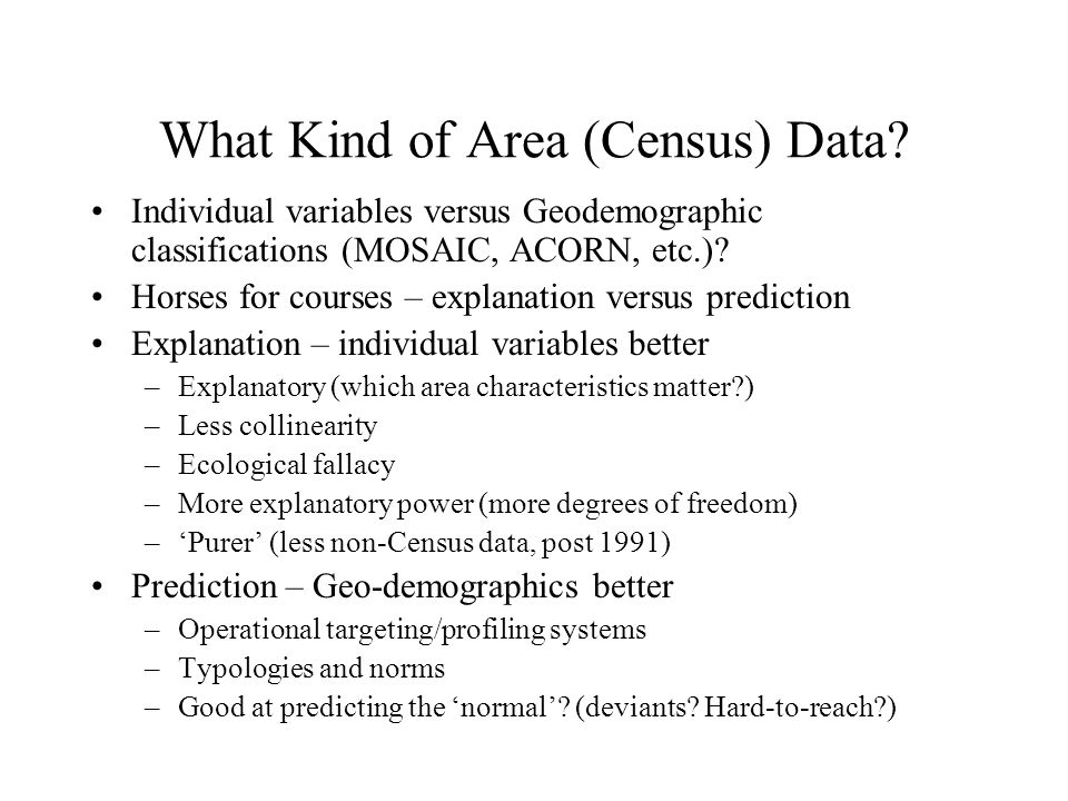 What Kind of Area (Census) Data.