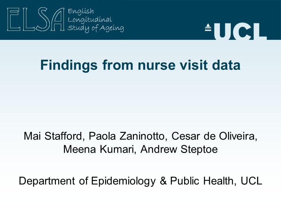 Findings from nurse visit data Mai Stafford, Paola Zaninotto, Cesar de Oliveira, Meena Kumari, Andrew Steptoe Department of Epidemiology & Public Heal