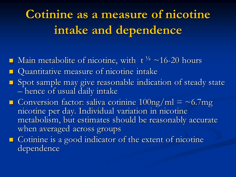 What has cotinine got to offer.