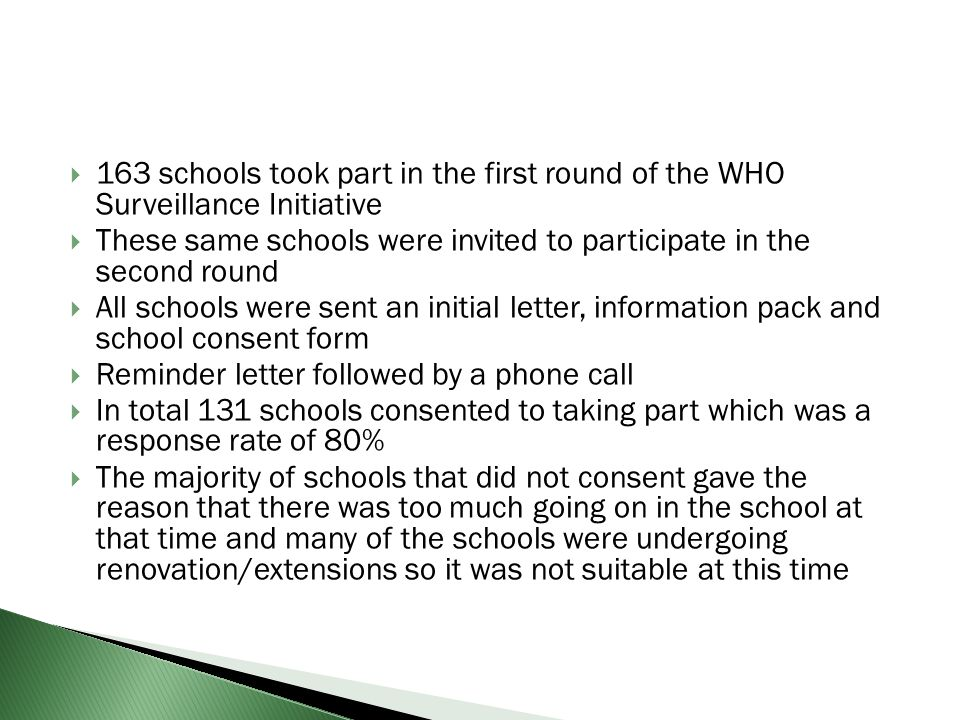 163 schools took part in the first round of the WHO Surveillance Initiative These same schools were invited to participate in the second round All sch