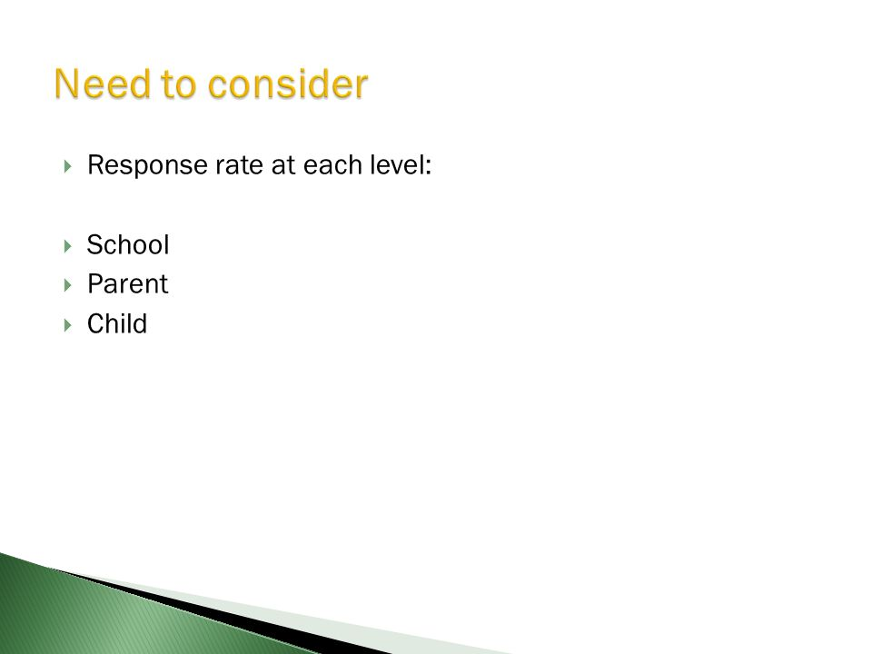 Response rate at each level: School Parent Child