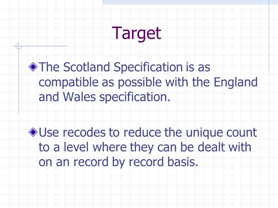 Target The Scotland Specification is as compatible as possible with the England and Wales specification.