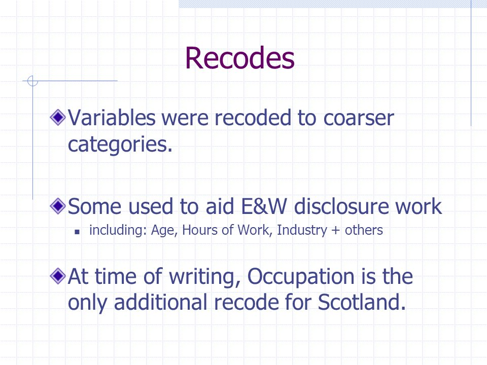 Recodes Variables were recoded to coarser categories.