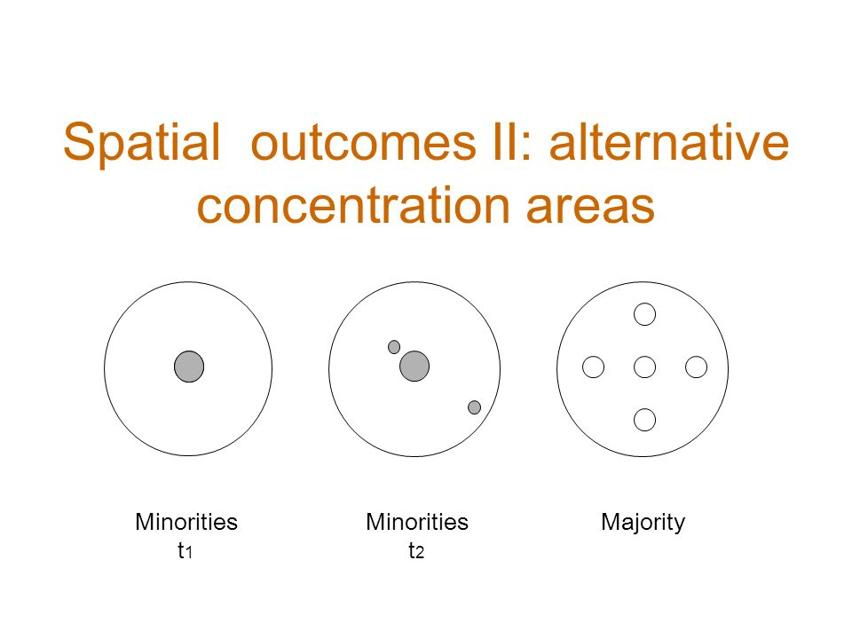 Minorities t 1 Minorities t 2 Majority Spatial outcomes II: alternative concentration areas