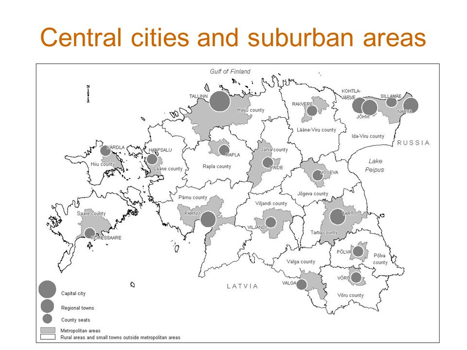 Central cities and suburban areas