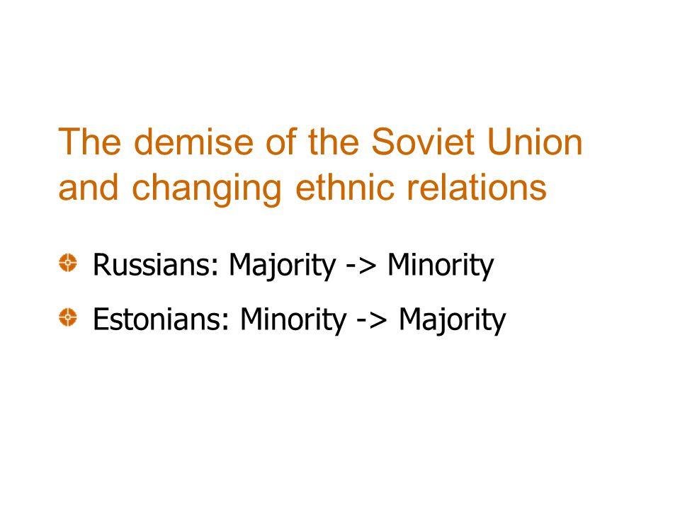 Changed social status of Russians Selective effect of economic restructuring Poor Estonian language skills Lack of Estonian citizenship Downgrading position of ethnic minorities
