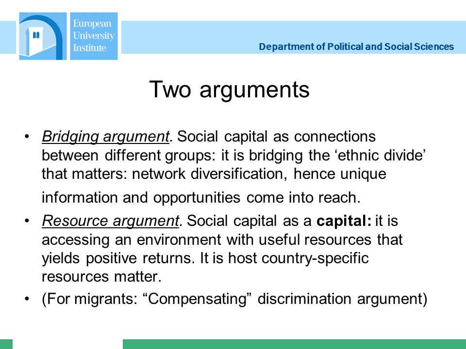 Department of Political and Social Sciences Two arguments Bridging argument.