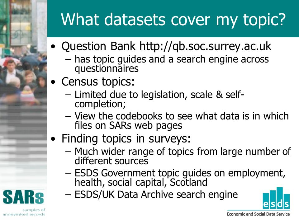 What datasets cover my topic.