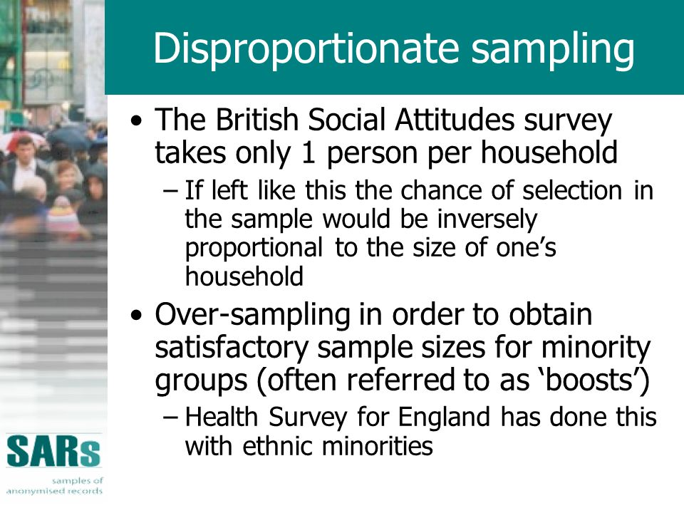 Disproportionate sampling The British Social Attitudes survey takes only 1 person per household –If left like this the chance of selection in the sample would be inversely proportional to the size of ones household Over-sampling in order to obtain satisfactory sample sizes for minority groups (often referred to as boosts) –Health Survey for England has done this with ethnic minorities