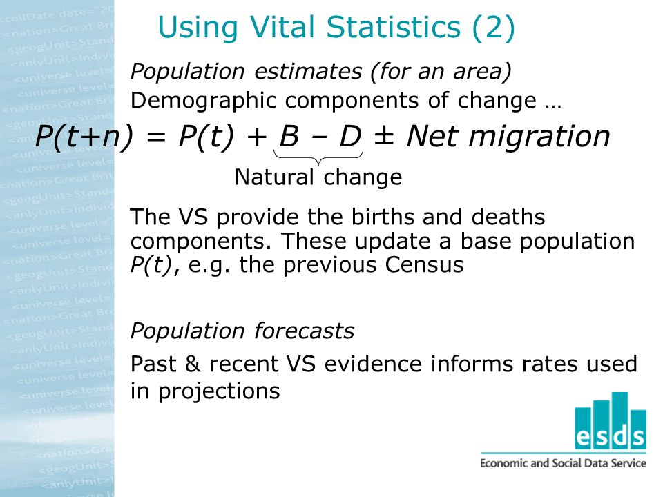 Using Vital Statistics (2) Population estimates (for an area) Demographic components of change … The VS provide the births and deaths components.