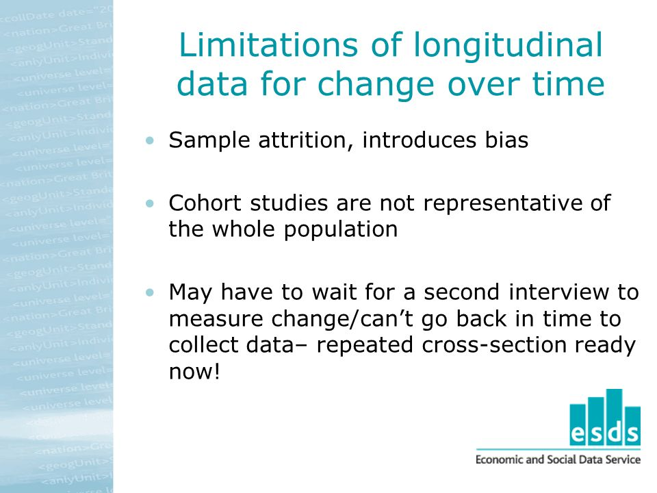 Limitations of longitudinal data for change over time Sample attrition, introduces bias Cohort studies are not representative of the whole population May have to wait for a second interview to measure change/cant go back in time to collect data– repeated cross-section ready now!