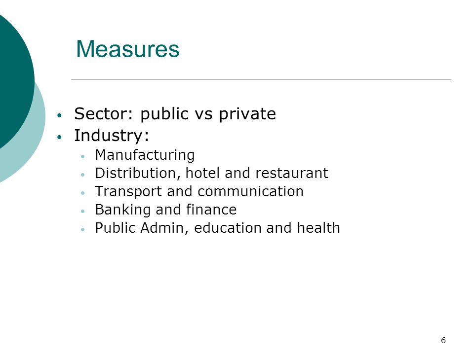 6 Measures Sector: public vs private Industry: Manufacturing Distribution, hotel and restaurant Transport and communication Banking and finance Public Admin, education and health