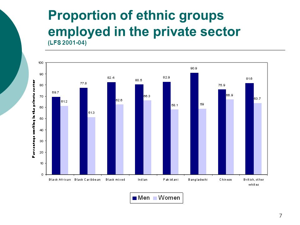 7 Proportion of ethnic groups employed in the private sector (LFS 2001-04)