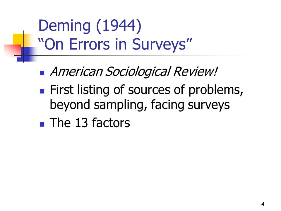 4 Deming (1944) On Errors in Surveys American Sociological Review.