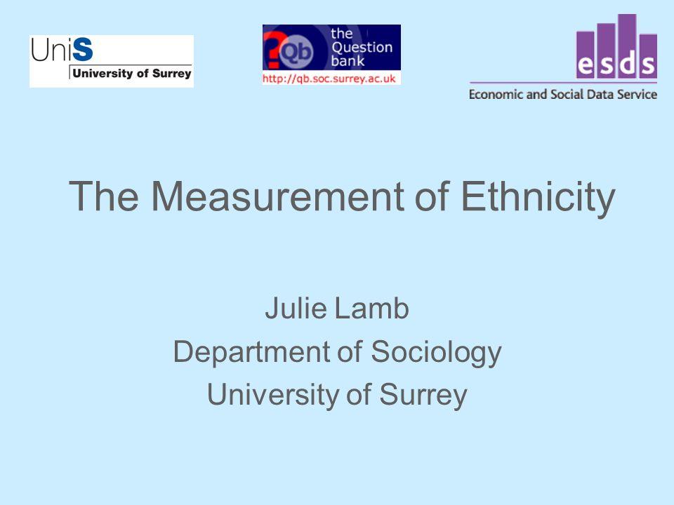 The Measurement of Ethnicity Julie Lamb Department of Sociology University of Surrey