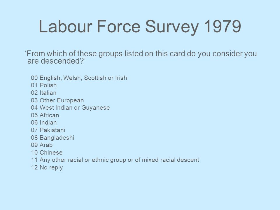 Labour Force Survey 1979 From which of these groups listed on this card do you consider you are descended? 00 English, Welsh, Scottish or Irish 01 Pol