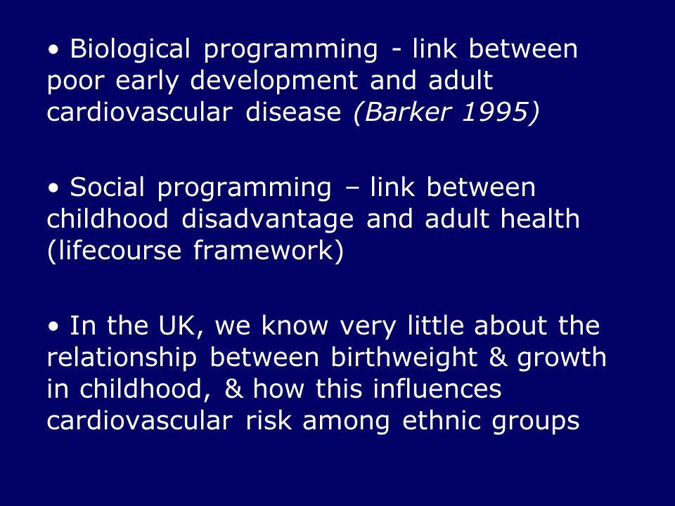Biological programming - link between poor early development and adult cardiovascular disease (Barker 1995) Social programming – link between childhoo