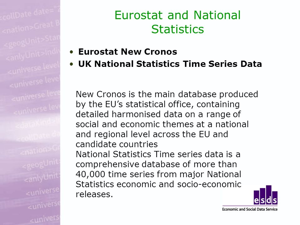 Eurostat and National Statistics Eurostat New Cronos UK National Statistics Time Series Data New Cronos is the main database produced by the EUs statistical office, containing detailed harmonised data on a range of social and economic themes at a national and regional level across the EU and candidate countries National Statistics Time series data is a comprehensive database of more than 40,000 time series from major National Statistics economic and socio-economic releases.