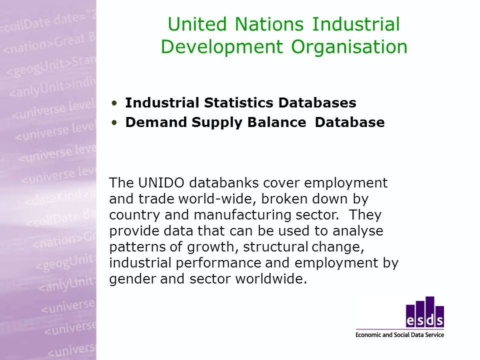 United Nations Industrial Development Organisation Industrial Statistics Databases Demand Supply Balance Database The UNIDO databanks cover employment and trade world-wide, broken down by country and manufacturing sector.