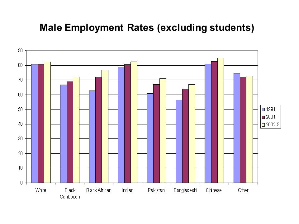 Male Employment Rates (excluding students)