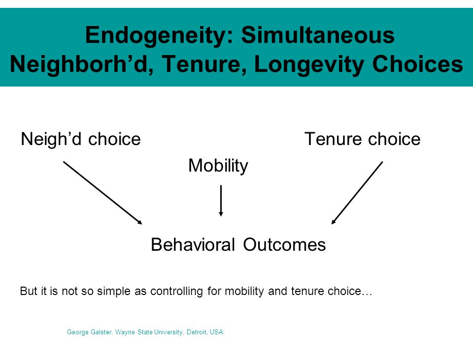 Endogeneity: Simultaneous Neighborhd, Tenure, Longevity Choices Neighd choiceTenure choice Mobility Behavioral Outcomes George Galster, Wayne State University, Detroit, USA; But it is not so simple as controlling for mobility and tenure choice…
