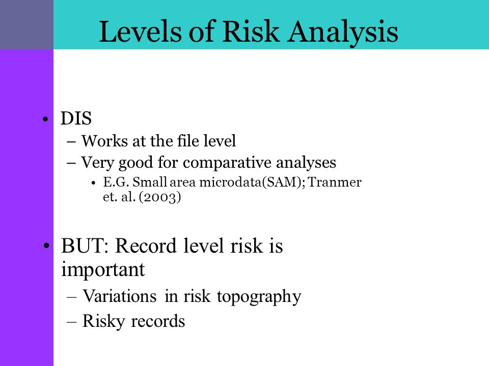 Levels of Risk Analysis DIS –Works at the file level –Very good for comparative analyses E.G.