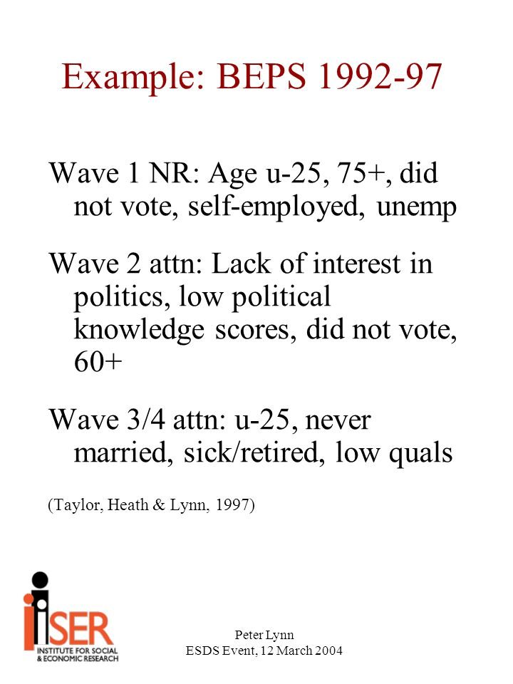 Peter Lynn ESDS Event, 12 March 2004 Example: BEPS 1992-97 Wave 1 NR: Age u-25, 75+, did not vote, self-employed, unemp Wave 2 attn: Lack of interest in politics, low political knowledge scores, did not vote, 60+ Wave 3/4 attn: u-25, never married, sick/retired, low quals (Taylor, Heath & Lynn, 1997)