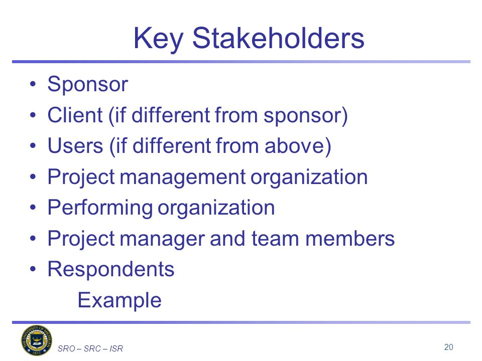 SRO – SRC – ISR Key Stakeholders Sponsor Client (if different from sponsor) Users (if different from above) Project management organization Performing organization Project manager and team members Respondents Example 20