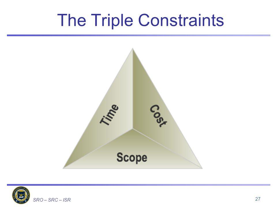 SRO – SRC – ISR The Triple Constraints 27