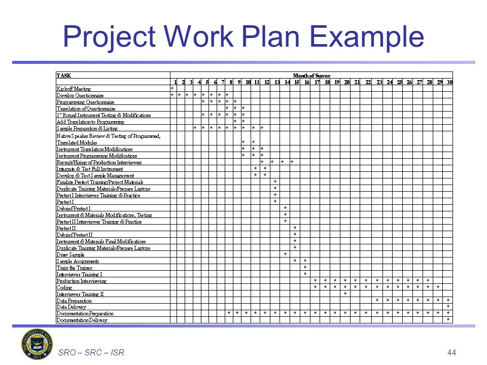 SRO – SRC – ISR Project Work Plan Example 44