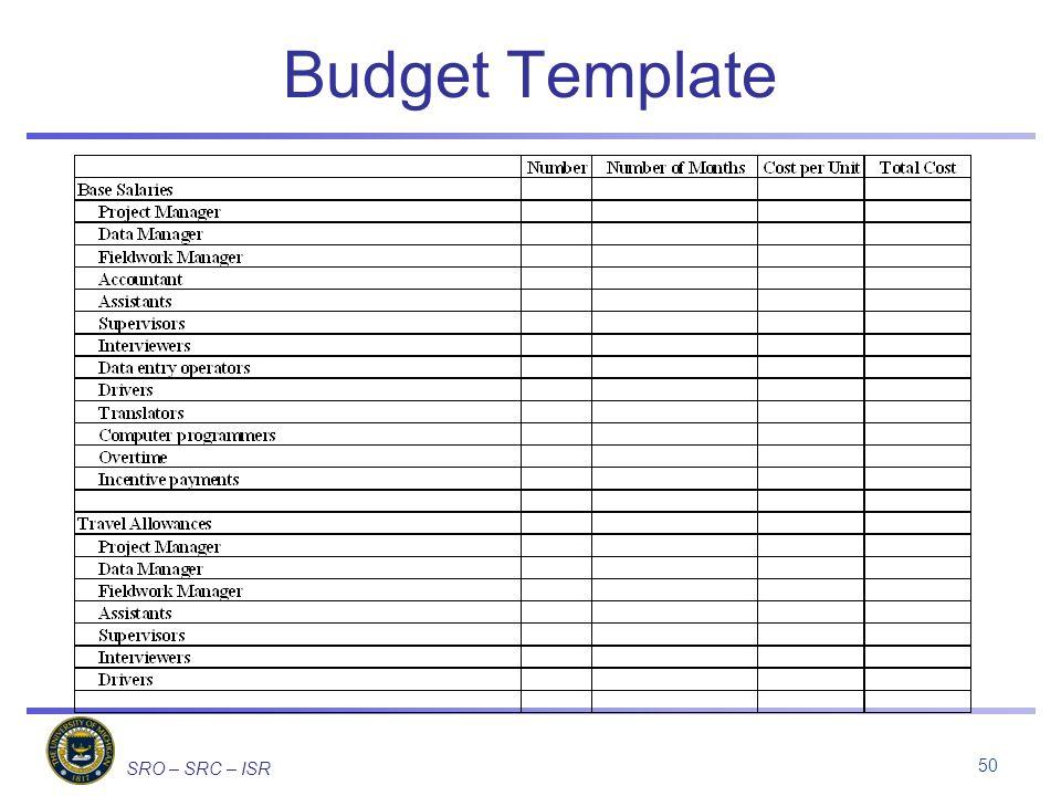 SRO – SRC – ISR Budget Template 50