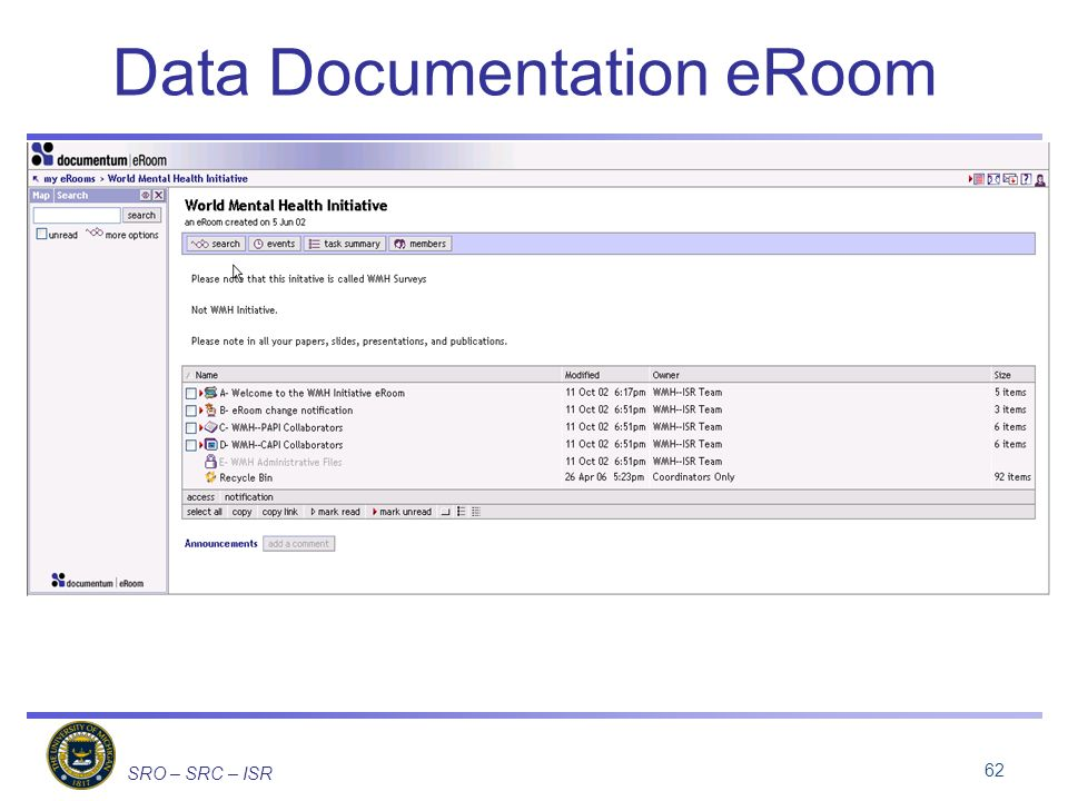 SRO – SRC – ISR Data Documentation eRoom 62