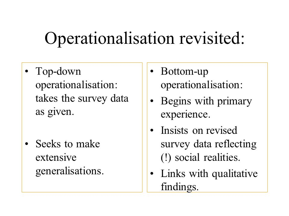 Operationalisation revisited: Top-down operationalisation: takes the survey data as given.